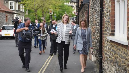 Home Secretary Amber Rudd campaigning in Norwich with Mrs Hempsall (pictured right). Picture : ANTON