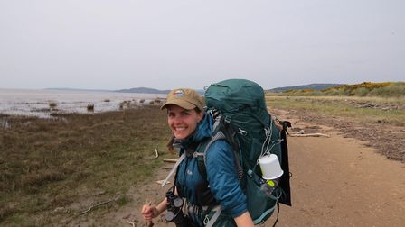 Alice Milton in Dumfries as she walks 5000 miles around England for charity. Picture: Alice Milton