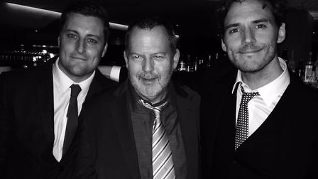 Mark Claflin, centre, pictured with his son Sam Claflin, right, and a close family friend. Picture: