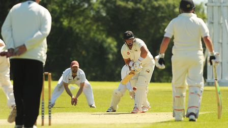 Action from Swardeston A's match against Vauxhall Mallards A in Division One, with Mallards' batsman