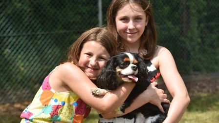 Hethersett Jubilee Youth Club fete and dog show .Zahra and Dayna Arbon with dog, Jenny. Picture: Son