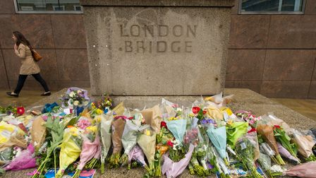 Flowers left on London Bridge for the victims of the terrorist attack on Saturday. PRESS ASSOCIATION