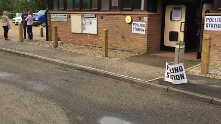 Voters at Wreningham Polling Station this morning. Picture: LUCY BEGBIE