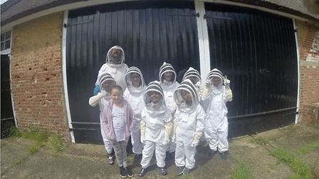 Younsters from Magdalen Gates Primary School's beekeeping club. Picture: Magdalen Gates Primary Scho