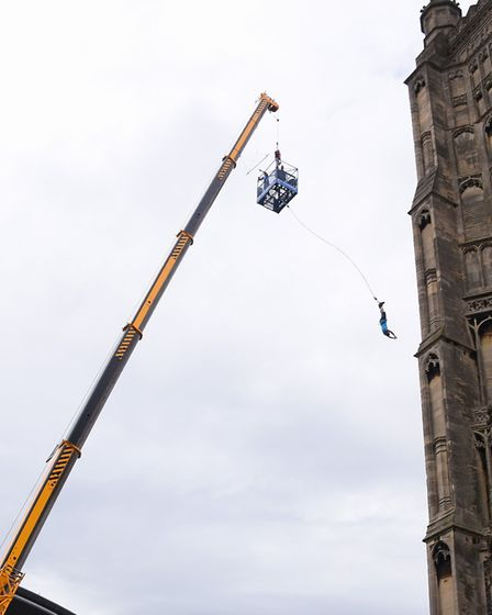 The brave make the 160 feet bungee jump in aid of the Big C at the Forum next to St Peter Mancroft C