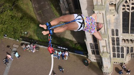 Matt Appleton during his 160 feet bungee jump in aid of the Big C at the Forum. Picture: DENISE BRAD