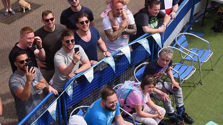Spectators watch as the brave make a 160 feet bungee jump in aid of the Big C at the Forum. Picture: