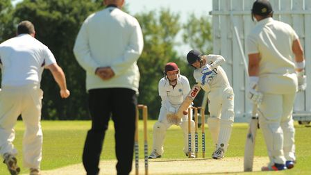 Vauxhall Mallards A batsman Luke Marchant in action against Swardeston A on Saturday. Picture: Denis