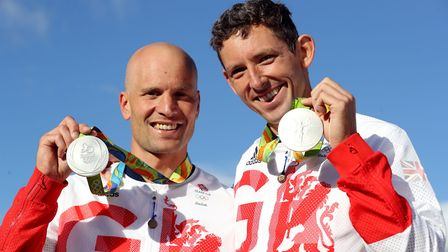 Richard Hounslow (left) and David Florence (right) with their silver medals for the Canoe Slalom C2
