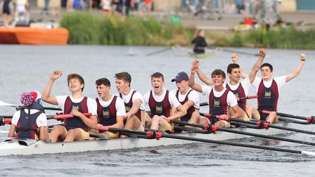 The Norwich School J15 1st VIII cross the finish line at the National Schools Regatta. From left: An