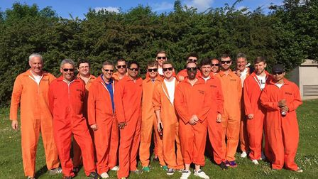 Great Melton''s tour party line up for a team picture in their boiler suits. Picture: Chris Elliott