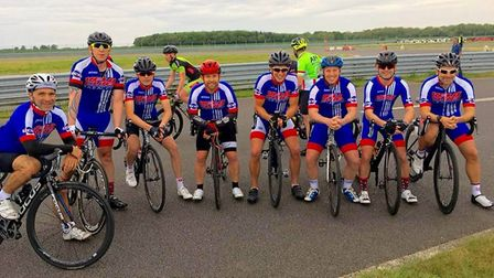 The bulk of the VC Baracchi road racing team face the camera. Picture: Club
