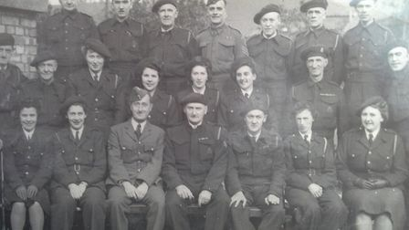 Margaret''s father, Reggie Codling, in the middle of the back row. The picture was taken outside the