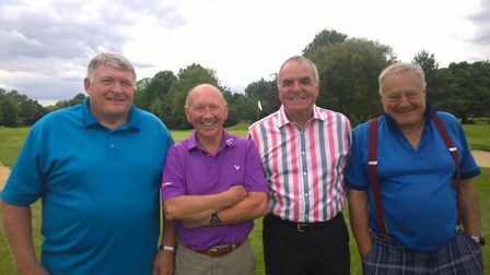Richmond Park winners Bill Luck and Keith Smith with their less successful playing partners Colin Ar