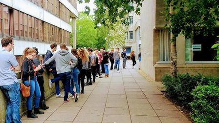 Students queuing up to vote at the University of East Anglia during the General Election. Picture: K