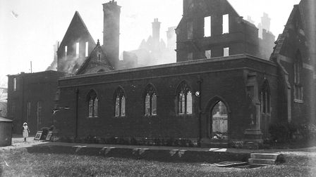 The still-smouldering ruins of the Norwich Diocesan Teachers' Training College in College Road, dest