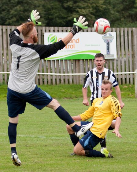 Alex Vincent is foiled by the St Andrews keeper. Picture: Eddie Deane