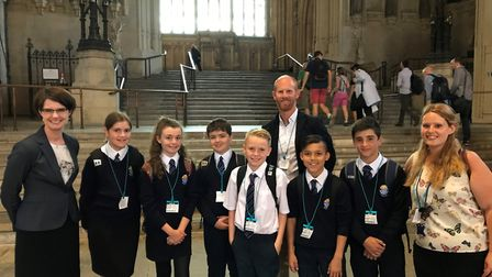 Pupils and staff from Thorpe St Andrew High School with, left, Norwich North MP Chloe Smith. Picture