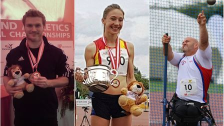 City of Norwich Athletic Club athletes, from left, Callum Brown, Iona Lake and Danny Nobbs, all won
