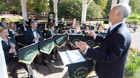 Norwich City concert band playing at Chapelfield Gardens, Norwich. Photo: Andy Darnell