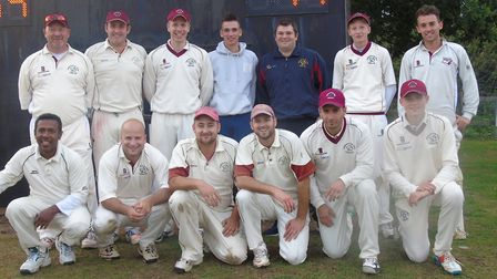 Hethersett and Tas Valley pose for a team picture after completing an excellent win over promotion r
