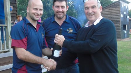 Robbie Matthews, who was named Hethersett and Tas Valley player of the month for July, receiving his