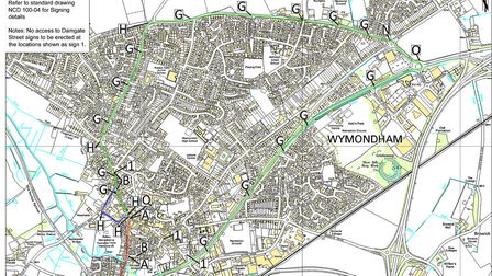 Graphic showing road closure and diversion route for road works in Wymondham starting next Tuesday.