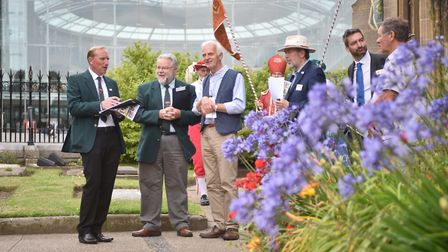 Anglia in Bloom judges meeting the Norwich in Bloom team and take a tour of Norwich. Pictured at St