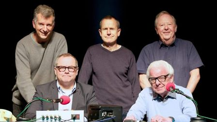 Barry Cryer with the team from long-running Radio 4 comedy panel show I'm Sorry I Haven't A Clue. Ph