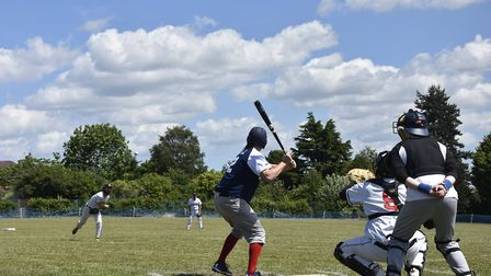 Local TV weatherman Chris bell batting for Norwich iceni against the Herts Raptors in game five of t