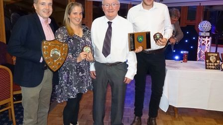 'Great Melton CC's Clubman' Award winners, Matt and Maxine Rushton and Nick Mackenzie with vice-pres