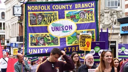 Protest march over public sector pay through Norwich City centre.Picture: Nick Butcher