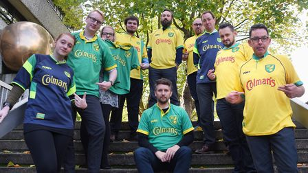 Norwich City football shirts with the Colman's logo. Picture: DENISE BRADLEY