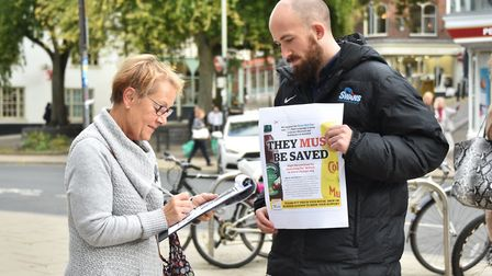 Reporter Jake Massey on the streets of Norwich to get the EDP and Norwich Evening News petition sign