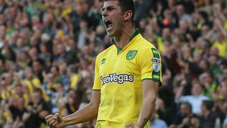 Nelson Oliveira of Norwich celebrates scoring his sides equalising goal during the Sky Bet Champions