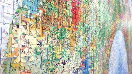 Joni Smith's Go! 2016 [detail] made up of deconstructed and reassembled maps. Photo: Joni Smith