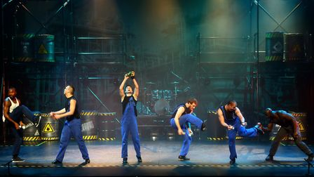 Lee Meadows (second one in from the right) is one of the leads in Tap Factory at Theatre Royal Norwi