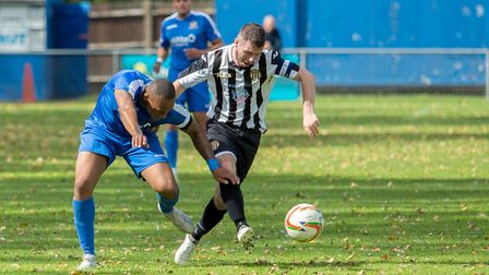 Alex Vincent's hat-trick earned Swaffham Town a hard-fought 3-3 draw at Cornard United. Picture: Edd