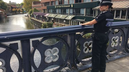 Police went to Riverside, after reports a woman was in the river. Pic: Andrew Stone.