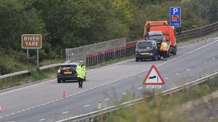 Vehicles are recovered after an accident on the A47 at the Postwick junction. Picture: DENISE BRADLE