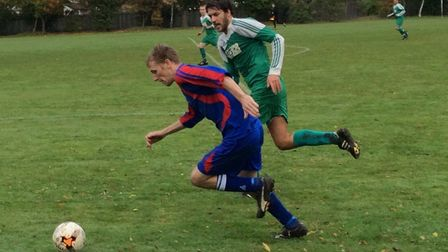 Action from Hosford's 2-0 win over Poringland Wanderers in the Norwich Sunday League. Picture: Steve