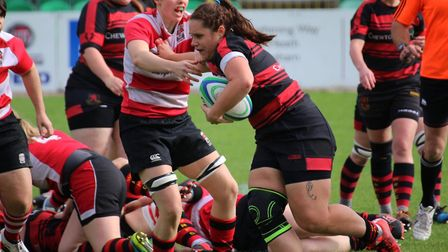 Captain Katie Allcock trying to get Wymondham Wasps on the front foot. Picture: Charlotte Hammond