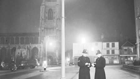 Norwich police on the beat in St Peter's Street in the late 1950s in this atmospheric picture from o