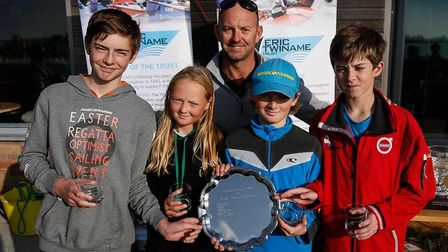 Norwich School pupils Seb Gotto, Grace Pank, William Pank and Joshua Means with Bruce Aitken from th