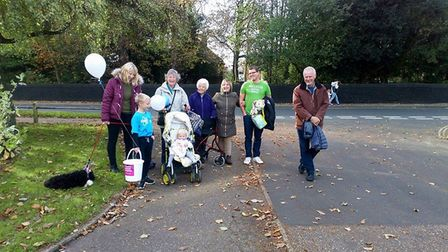 The Memory Walk in Attleborough which was organised by 10 year old Isaac Jervis. Picture: Zoe and Ma