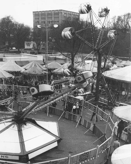Norwich Fair on the old cattle market., April 1972. Picture: Archant Library