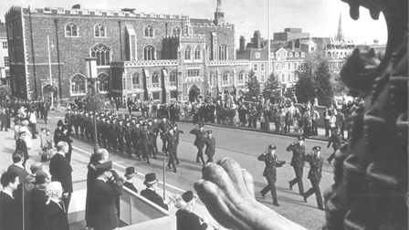 Battle of Britain march passes the Guildhall in Norwich, September 17th 1978. Picture: Archant Libra