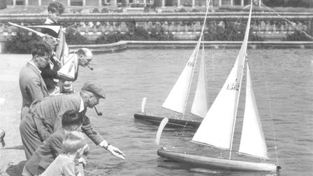 Sailing model yachts in Eaton Park, 1950s. Picture: Archant Library