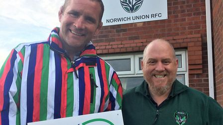 Wooden Spoon ambassador and former England captain, Phill Vickery MBE DL, presents NURFC with their