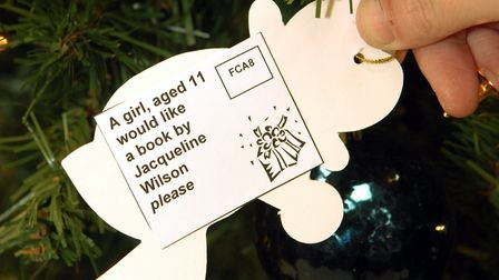 The Giving Tree at Waterstones in Norwich, where people can buy books for Norfolk children in care.